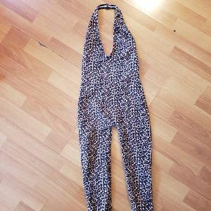 American apparel halter leopard jumpsuit size xs